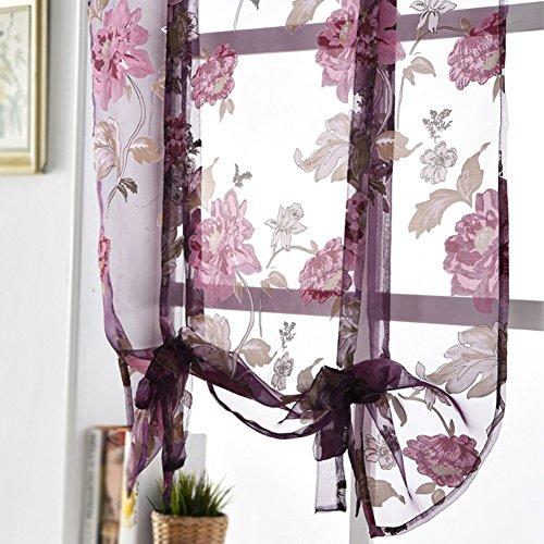 Fiore voile tulle, velato pannello della tenda drappo casa camera da letto tenda della finestra porta mantovana decorazione, purple, 100cmx140cm