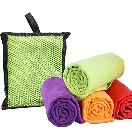 Extra große Ultra saugfähige schnelle Trocknung Microfiber leichte Reise Strand- Bade-Handtuch Sport Yoga Camping Gym persönliche Pflege-Enthält atmungsaktive Netz-Tragetasche., grün, 130cm x 80cm
