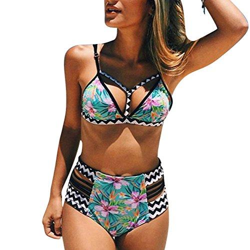 Gladiolus Donna Bikini Coordinato A Vita Alta Stampato Floreale Costumi Da Bagno Due Pezzi Push Up Costumi Interi Beachwear Swimwear Come Immagine