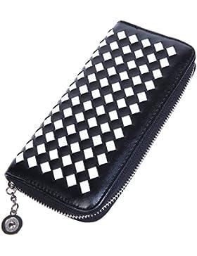 Lifeyz, borsellino da donna, portafogli, portamonete, intrecciato., Black/White