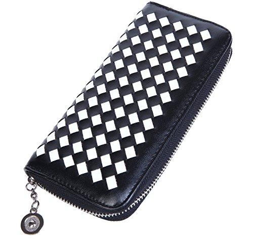 Lifeyz, borsellino da donna, portafogli, portamonete, intrecciato., Blue multicolore  - nero/bianco