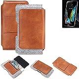 K-S-Trade® Für LG Electronics K10 (3G) Gürteltasche Schutz Hülle Gürtel Tasche Schutzhülle Handy Smartphone Tasche Handyhülle PU + Filz, Braun (1x)