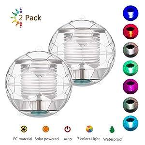 Linkax luci piscina solare, Luce piscina Luce galleggiante Impermeabile Luce a Sospensione Plastica ABS per per Partito, Laghetto, Piscina, Fish Tank, Giardino(2 pezzo)