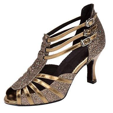 Scarpe da ballo-Da donna-Balli latino-americani / Salsa-Tacco su misura-Finta pelle / Brillantini-Nero / Argento / Dorato golden