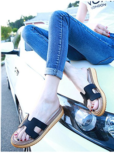 Minetom Donna Estate Casuale Pantofole Piatto Tacco Piattaforma Scarpe Moda Sandali Spiaggia Sandals Morbido Suola Nero