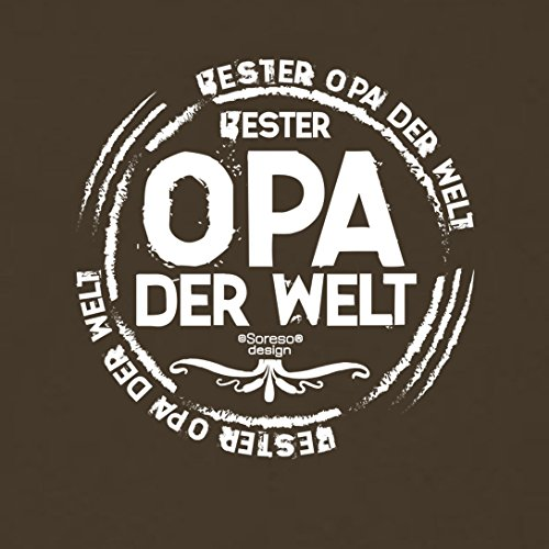 bequemes T-Shirt Herren Männer Motiv Bester Opa der Welt Geschenk-Idee, Vatertag, Weihnachten kurzarm Outfit, Kostüm Farbe: braun Braun