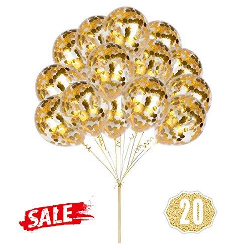 Hoshin Globos de Confeti de Oro, Globos Redondos de 30 cm (12 ') Globos de Oro Transparentes de látex para Bodas, propuesta, Decoraciones de Fiesta de cumpleaños (Paquete de 20)