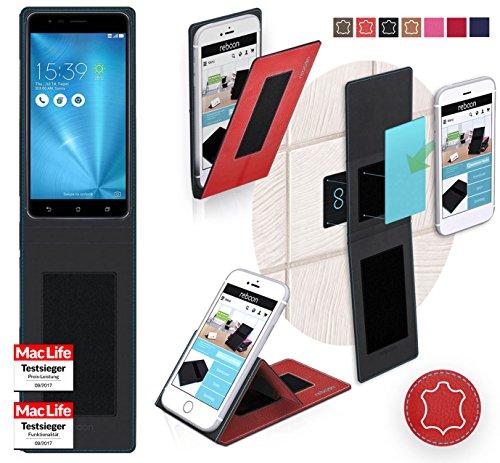 Hülle für Asus ZenFone Zoom S Tasche Cover Case Bumper   Rot Leder   Testsieger