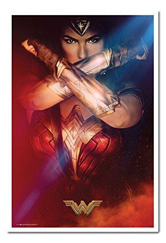 Wonder Woman verschränkten Armen Poster Magnettafel weiß gerahmt, 96,5x 66cm (ca. 96,5x 66cm) (Wonder Woman Blatt)