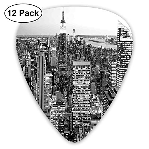 act Art Colorful Designs,Panorama Of Manhattan High Buildings Of City Famous Monument USA Black And White Photo,Unique Guitar Gift,For Bass Electric & Acoustic Guitars-12 Pack ()