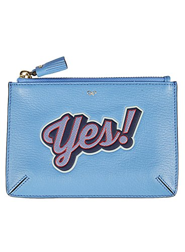 Anya Hindmarch Damen 929837 Hellblau Leder Clutch (Anya Hindmarch Clutch)