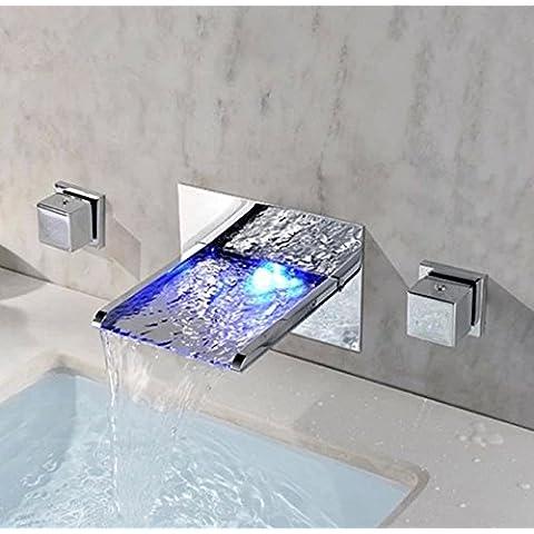 CAC Ottone cromato Led vasca a cascata rubinetto di lavello
