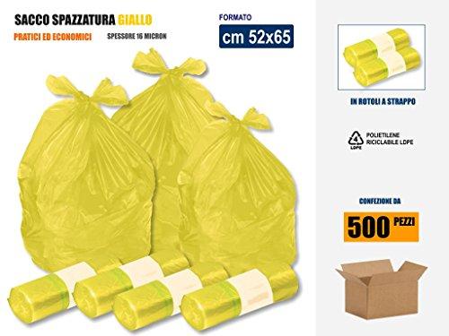 SACCHI SPAZZATURA RACCOLTA DIFFERENZIATA RIFIUTI IN PLASTICA PE-LD COLORE GIALLO Cm 52x65 (35 litri) - SCATOLA DA 500 SACCHETTI