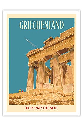 Griechenland - Der Parthenon - Tempel der Athena - Vintage Retro Welt Reise Plakat Poster von Dick Negus & Philip Sharland c.1954 - Premium 290gsm Giclée Kunstdruck - 30.5cm x 41cm