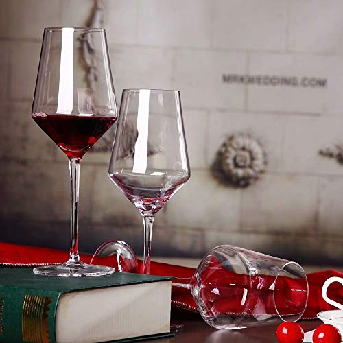 Red Wine Glasses -Lead Free Crystal Glass, 21 oz. Large Bowl,Long Stemmed Glassware For Wine Tasting, Birthday, Anniversary or Wedding Gifts-Safer Set of 6 Packaging Set of 2