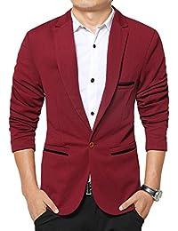 Scothen Solapa moda hombres traje chaqueta Corte ajustado muescas cierre botón único Ocio Blazer clásica chaqueta chaqueta de negocios abrigo corto clásico traje chaqueta chaqueta