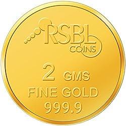 RSBL 2 gm, 24k (9999) Yellow Gold Ecoins Precious Coin