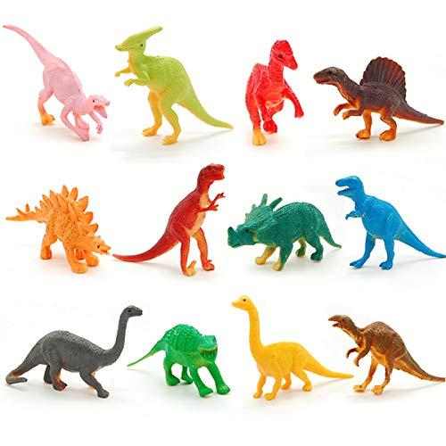 Mingzuo 12 Dinosaurier-Mini-Figuren, Partytütenfüller, Pinata, Gastgeschenk, Lernspielzeug, Mini-Tyrannosaurus Rex - 12pcs - mehrfarbig (Kaufen Eine Piñata)