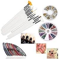 RUIMIO 15 pcs Pinceles para Uñas , 12 colores Uñas Stickers , 30 colores Cinta Nail Art y 3D Nail Art Rueda Manicura con Oro y Plata Postes del Metal