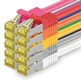 Cat.7 Netzwerkkabel 1,5m - 10-Farben - 10 Stück - Cat7 Ethernetkabel Netzwerk Lan Kabel Rohkabel 10 Gb/s (Sftp Pimf) Set Patchkabel mit Rj 45 Stecker Cat.6a