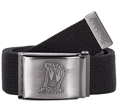 2Stoned Tresor-Gürtel Geldgürtel Schwarz 4 cm breit, Matte Schnalle Crown, Gürtel für Damen und Herren