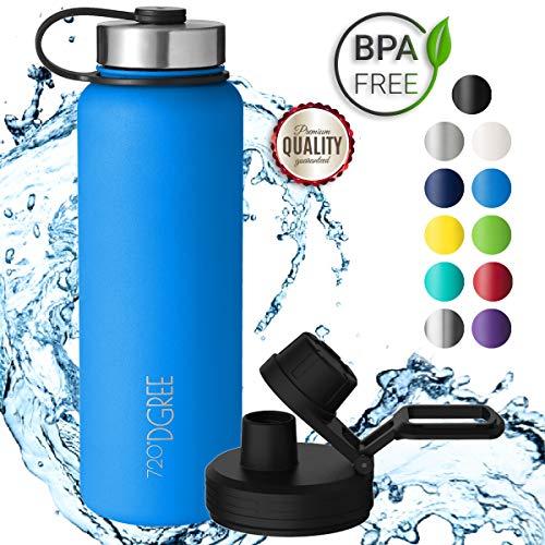 720°DGREE Borraccia Acqua Termica noLimit - 1200ml, Blu, Blue | BottigliaaAcciaio Inox Isolamento Vuoto | + Gratis Coperchio di Sport