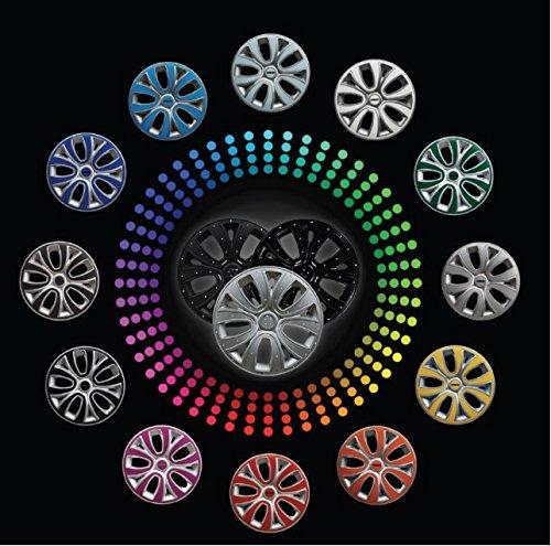 Set 4 copricerchi coppe ruota Borchie colorate universali Farad diametro 14. Coppa nero lucido ed inserti colorati (Sc 241 r 14 ins colorati)