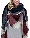heekpek Écharpe Chale Femme Cachemire Chaud Automne Hiver Grand Plaid Tissu Glands Foulard (Rouge)
