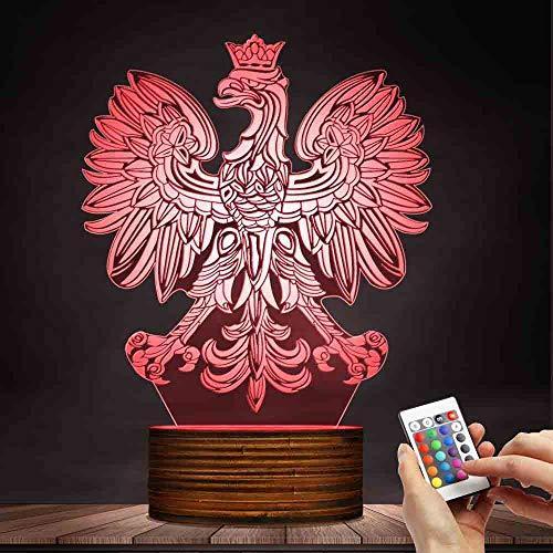 (ZCLD 3D optische Täuschung USB Licht Home Decor patriotischen polnischen Adler Falcon LED Neuheit Schreibtisch Nachtlampe 3D Illusion Lampe optische LED Schreibtisch Geschenke für Jungen Männer)