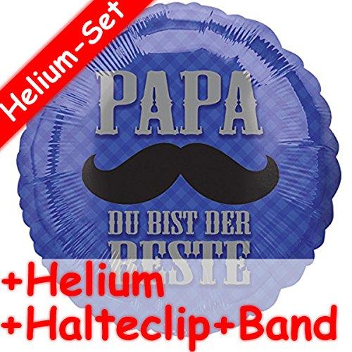 Carpeta Folienballon Set * Papa Du Bist der Beste + Helium FÜLLUNG + Halte Clip + Band * für Kindergeburtstag Oder Motto-Party // Folien Ballon Helium Deko Ballongas Motto Vatertag Vater liebster