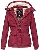 Marikoo warme Damen Winter Jacke Winterjacke Teddyfell Kapuze Muster B683 [B683-Kaik-Bordeaux-MP-Gr.L]
