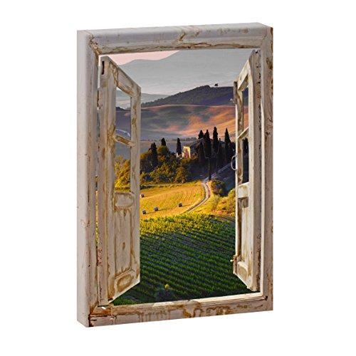 Querfarben Fensterblick | Paesaggio - Toskana | Panoramabild im XXL Format | Kunstdruck auf Leinwand | Wandbild | Poster | Fotografie | Verschiedene Formate (Farbig, 100 cm x 65 cm | Hochformat)