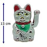 Starlet24 winkende Glückskatze Winkekatze Lucky Cat Maneki-Neko Katze Glücksbringer (Silber, 15cm)