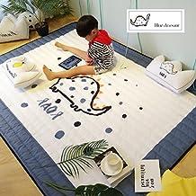 DW&HX Alfombras decorativas niños alfombras modernas alfombras de algodón de rectángulo para dormitorio living sala cabecera simple nórdico bebé gateando tatami colchón juego inicio antideslizante lavable-dinosaurio 150x200cm(59x79inch)