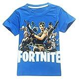 Memoryee Cotton Manga Corta Fortnite Inspired Kids Gaming Camiseta PS4 Gaming Children's Wonderful Gifts/Azul-8383/130cm