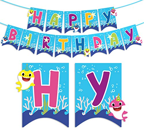 Kreatwow Baby Shark Happy Birthday Banner Party Dekorationen für Kinder Geburtstag Lieferungen