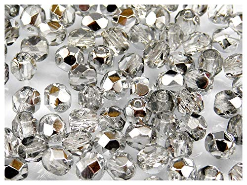 50pcs Tschechische Facettierten Glasperlen Fire-Polished Rund 6 mm Crystal Silver