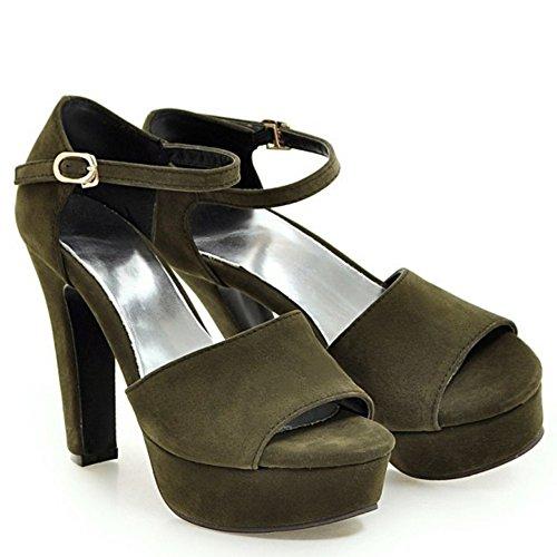 TAOFFEN Femmes Elegant Peep Toe Sandales Bloc Talons Hauts Sangle De Cheville Chaussures Vert