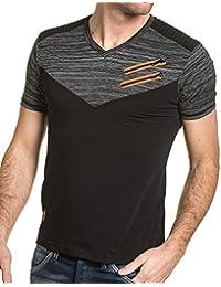 BLZ jeans - Tee-shirt homme noir et chiné col V et zips fantaisie