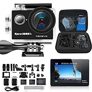 TECEVO VPro Sports Camera HD 1080P 170 Degree Ultra-wide Angle Lens 12MP 98-Feet(30-meter) 2 Inch LCD Display Waterproof Sports Diving Camera WiFi Remote Control Helmet Action Camera Now With Free Carry Case (Black)