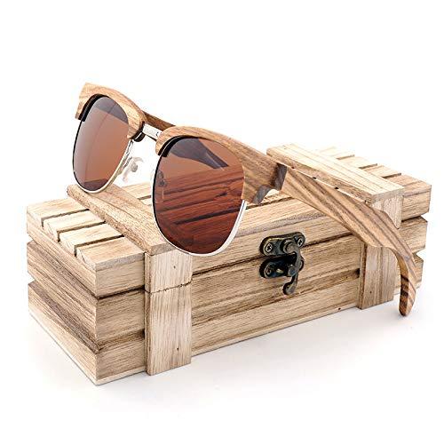 SLONGK Rote Holz Holz Sonnenbrille Frauen Hölzerne Sonnenbrille für Damen Mit Bambus Box