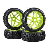 BQLZR 4PCS Green 17mm Hex RC 1:8 Off-road Car Star Wheel Hub Rim T Shape Pattern Tires