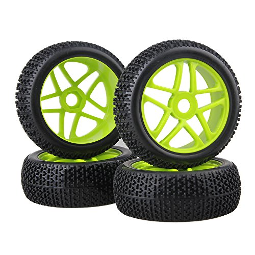 BQLZR 4PCS Green 17mm Hex RC 1:8 Off-road Car Star Wheel Hub Rim T Shape Pattern Tires