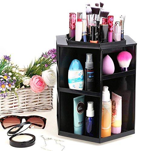 Meykey organizzatore di trucco 360° rotante,cosmetic organizer ,31,5 x 13,5 x 13,5 cm,scatola cosmetici ,regalo perfetto per ragazze,nero