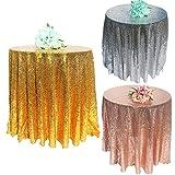 SONGHJ Rosa Oro Lentejuelas Mantel Glitter Redonda Rectangular Bordado Lentejuelas Paño de Tabla para La Fiesta de Pastel de Bodas Decoración de Navidad C diámetro 275 cm