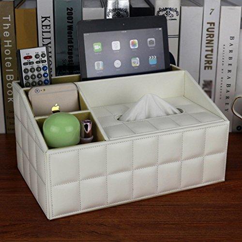 MMM Moutons Artificial Leather Tissue Box Boîte de rangement de bureau Cosmetic Serviette de pompage Carton Continental (Couleur : Blanc)