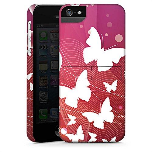 Apple iPhone 5 Housse Étui Silicone Coque Protection Papillons couleurs Ornement CasStandup blanc