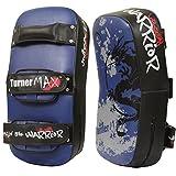 TurnerMAX Curved Thai Arm Pad Punching Martial Arts Thai Kick Boxing Strike Shield UFC MMA Blue Black
