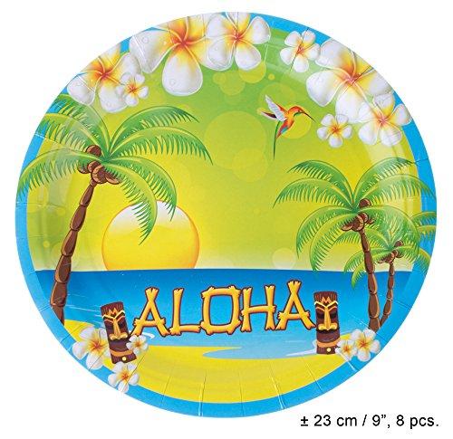 Aloha Hawaii Party Artikel zur Dekoration - 8 Pappteller (Dekorationen Französisch Party)