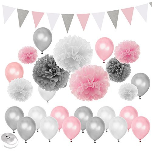 Silber Weiß unter dem Motto Baby Shower Party Dekorationen Hochzeit Geburtstag Supplies-Ballons Papier Pom Poms und Dreieck Banner ()